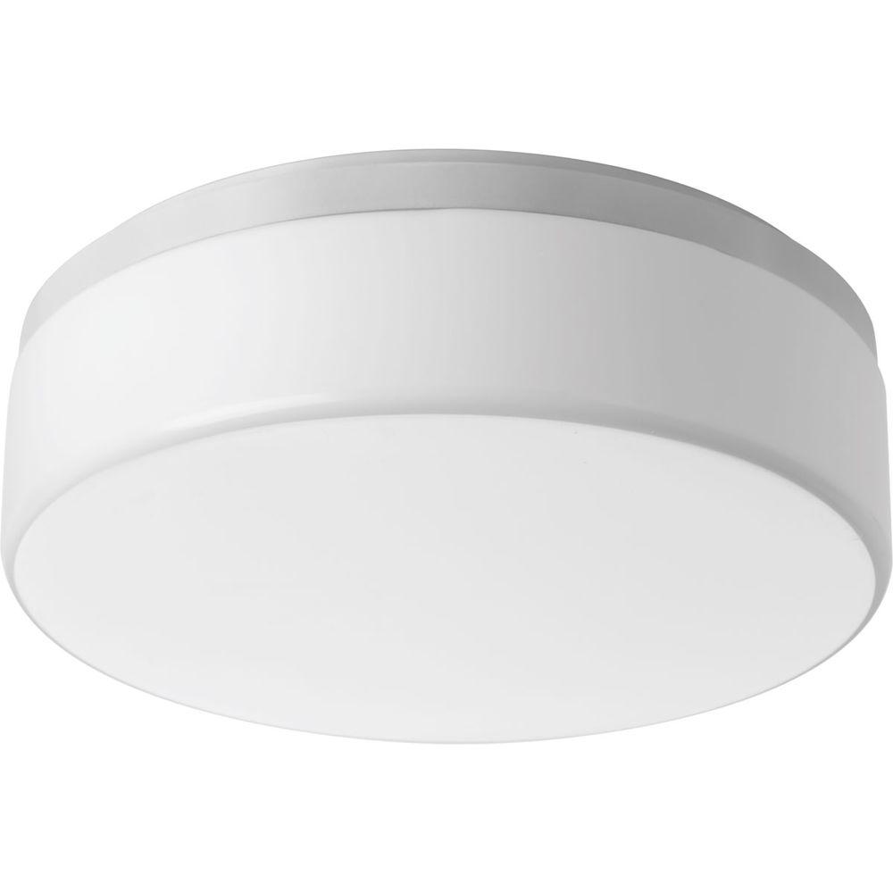 14 in. Maier Collection 2-Light White Integrated LED Flushmount