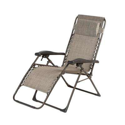 Mix and Match Mocha Pearl Folding Zero Gravity Steel Outdoor Patio Sling Chaise Lounge Chair in Riverbed Taupe