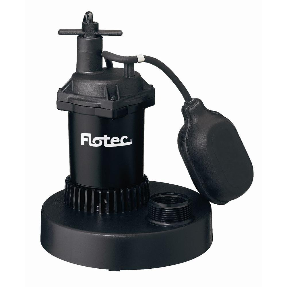 Flotec 1/4 HP Thermoplastic Submersible Sump Pump with Tethered Switch
