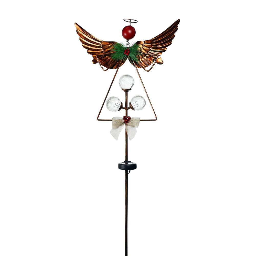 Alpine Corporation 43 In Tall Solar Rustic Angel Garden Stake With White Led Lights And Timer Sll1941 The Home Depot