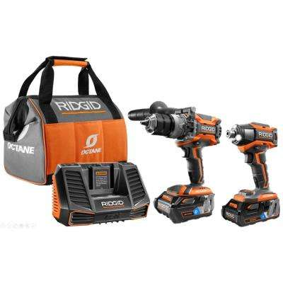18-Volt OCTANE Lithium-Ion Cordless Brushless Combo Kit with Hammer Drill, Impact Driver, (2) OCTANE Batteries, Charger
