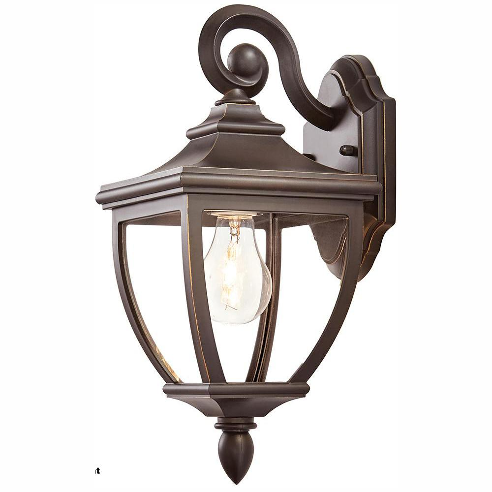 HomeDecoratorsCollection Home Decorators Collection 1-Light Oil-Rubbed Bronze Outdoor 6.5 in. Wall Lantern Sconce with Clear Glass