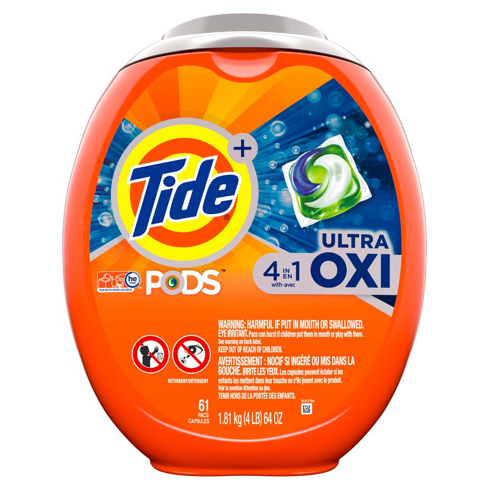 Tide Ultra Oxi He Laundry Detergent Pods 61 Count