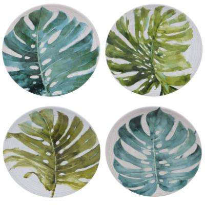 Palm Leaves Green Round Dessert Plate (Set of 4)