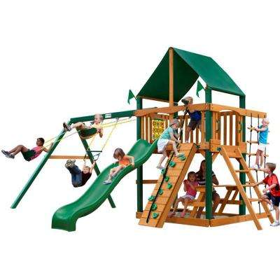 Chateau with Timber Shield and Sunbrella Canvas Forest Green Canopy Cedar Playset
