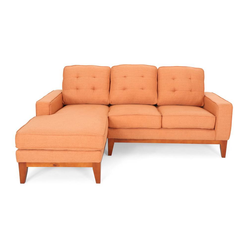 Noble House Welles Mid-Century Modern Tufted Burnt Orange Fabric ...