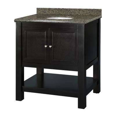 Gazette 31 in. W x 22 in. D Vanity in Espresso with Granite Vanity Top in Quadro with White Sink