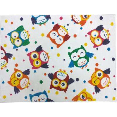 Multi-Color Kids Children and Teen Bedroom Playroom Cheerful Parliament of MultiColor Owls 5 ft. x 7 ft. Area Rug