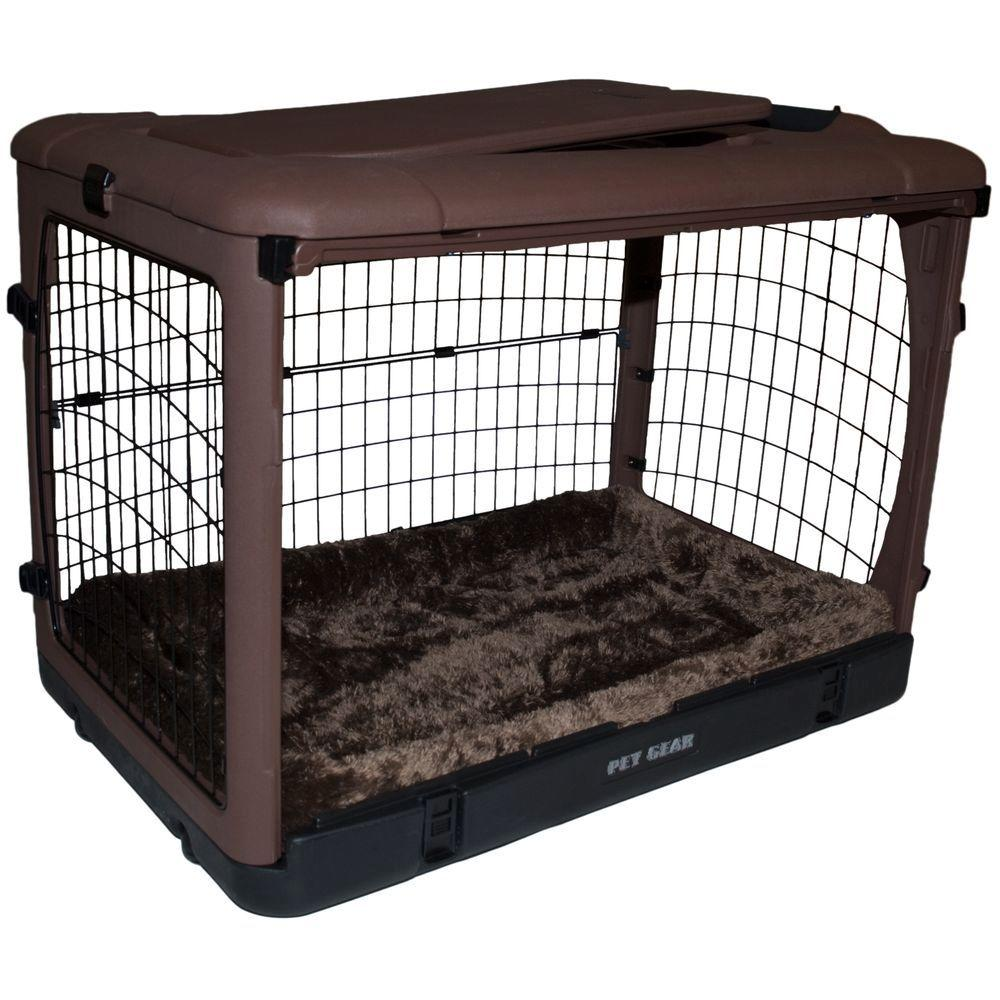 Pet Gear The Other Door 27 in. L x 18.25 in. W x 21.75 in. H Chocolate Steel Crate with Pad