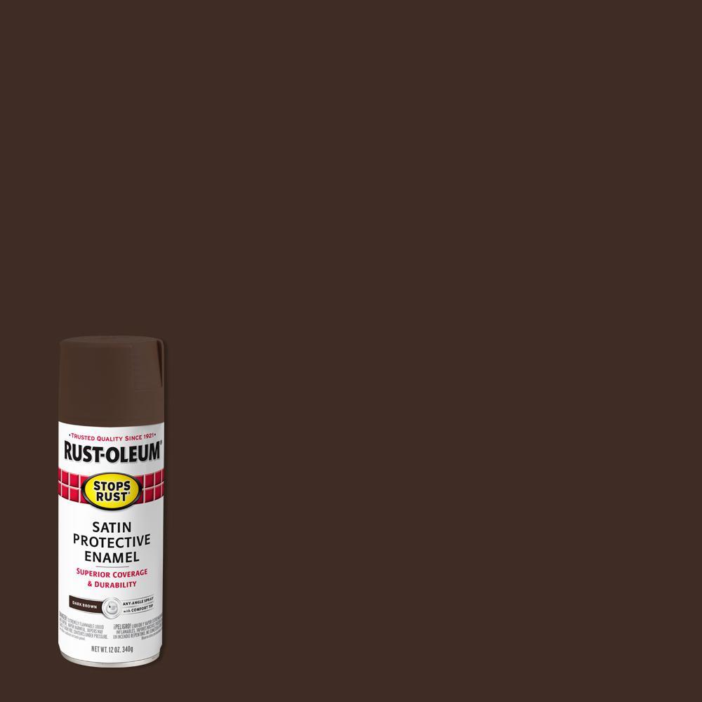 Rust-Oleum Stops Rust 12 oz. Protective Enamel Satin Dark Brown Spray Paint (6-Pack)