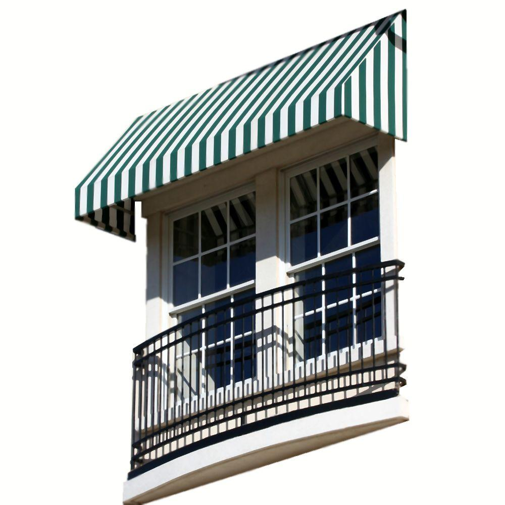 AWNTECH 12 ft. New Yorker Window/Entry Awning (24 in. H x 42 in. D) in Forest/White Stripe