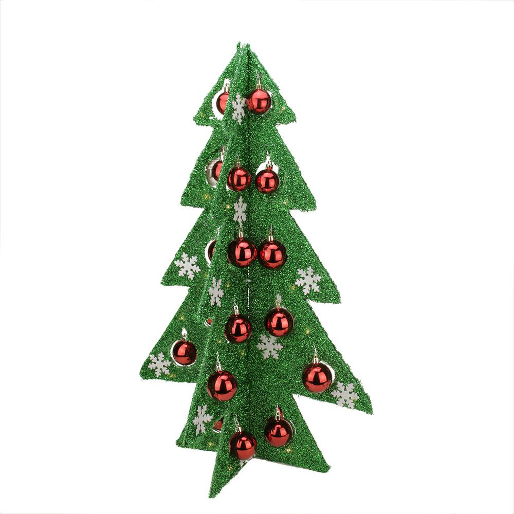 Battery Operated Decorated Green Tinsel