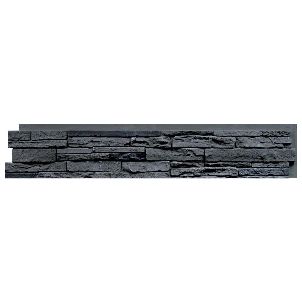Slatestone Rocky Mountain Graphite 8.25 in. x 43 in. Faux Stone Siding Panel (8-Pack)