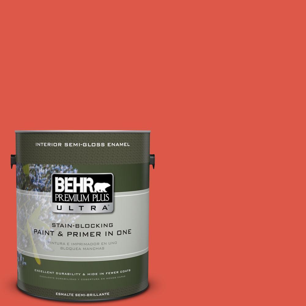 BEHR Premium Plus Ultra 1-gal. #T12-7 Red Wire Semi-Gloss Enamel Interior Paint