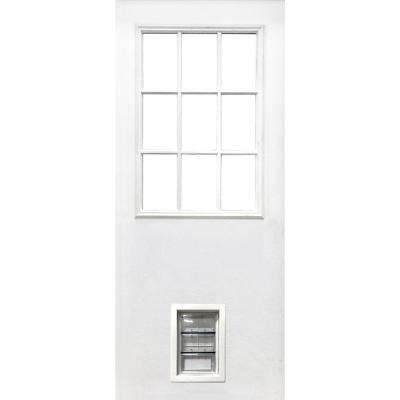 31-3/4 in. x 79 in. 9-Lite Clear Glass White Primed Fiberglass Front Door Slab with Medium Pet Door
