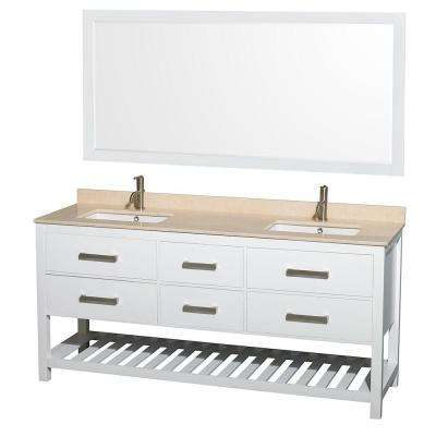 Natalie 72 in. Double Vanity in White with Marble Vanity Top in Ivory, Under-Mount Square Sinks and 70 in. Mirror
