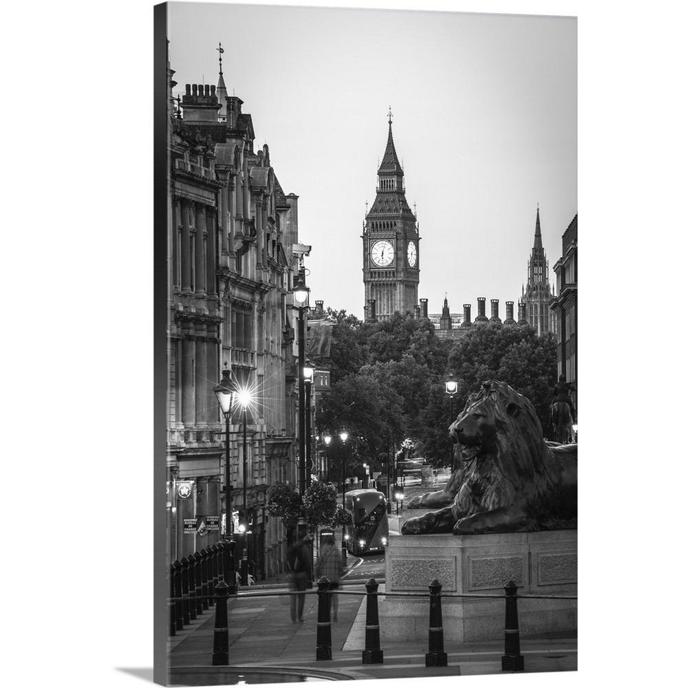 Black And White Trafalgar Square Ben London England Uk By Circle Capture Canvas Wall Art