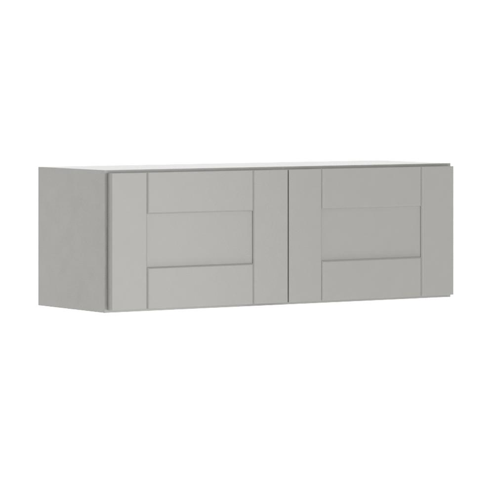 Princeton Shaker Assembled 36x12x12 in. Wall Bridge Cabinet in Warm Gray