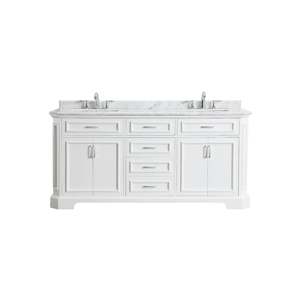 Amazing Home Decorators Collection Bristol 72 In W X 22 In D Bath Vanity In White With Marble Vanity Top In Carrara With White Sinks Home Interior And Landscaping Synyenasavecom