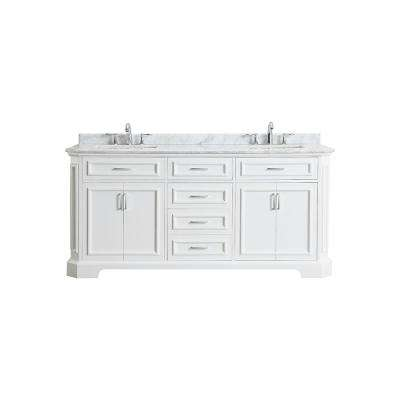 Bristol 72 in. W x 22 in. D Bath Vanity in White with Marble Vanity Top in Carrara with White Sinks