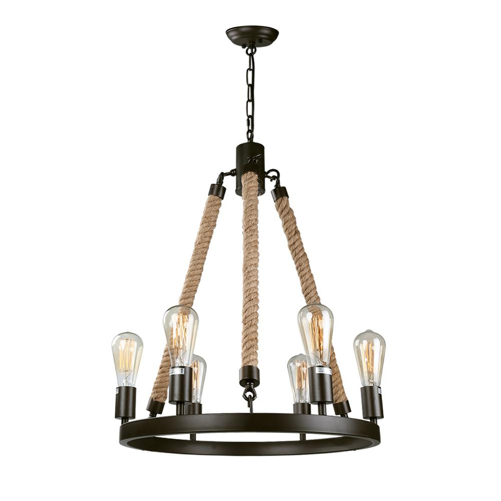 Lnc 6 light bronze rustic rope chandelier
