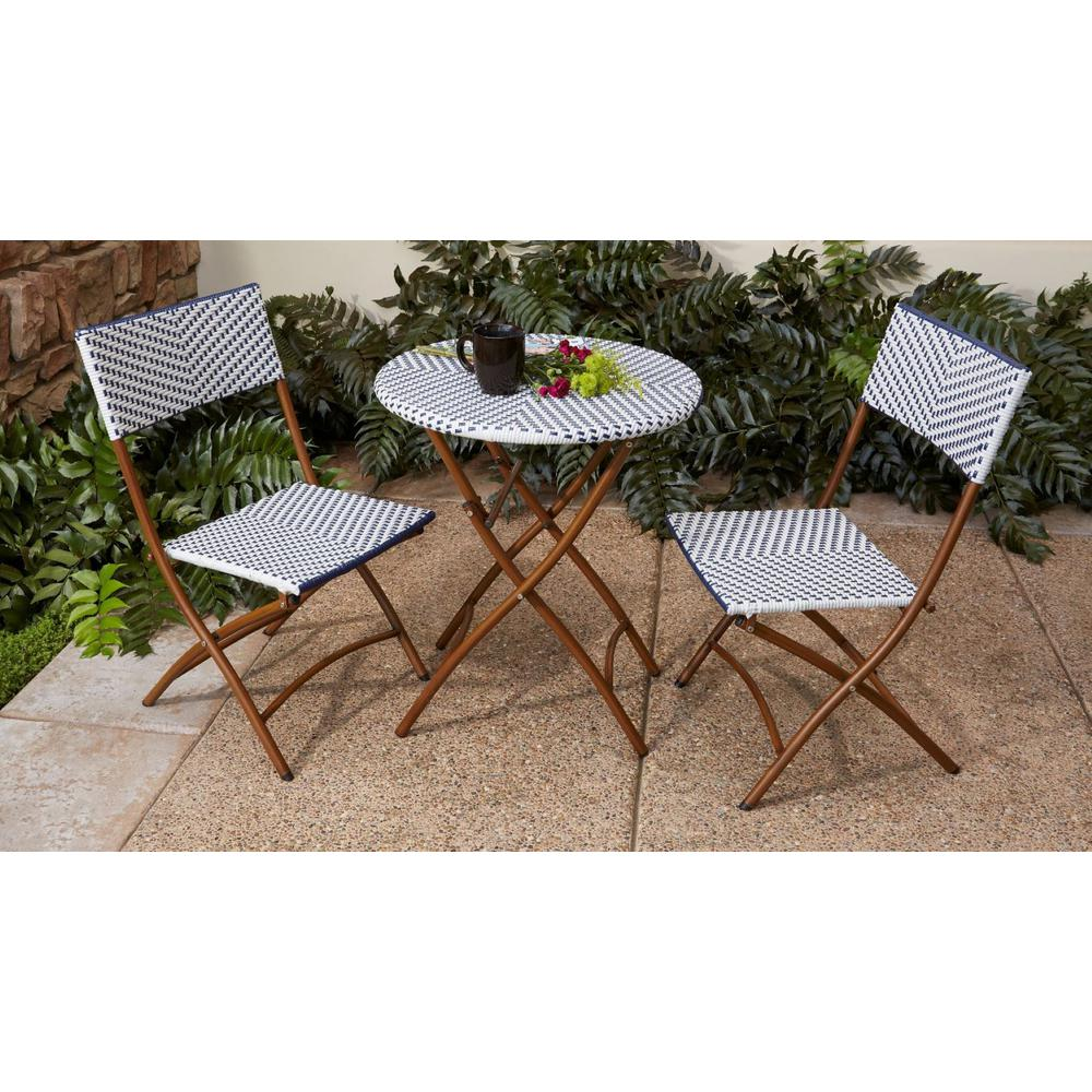 French Caf 3 Piece Wicker Outdoor Patio
