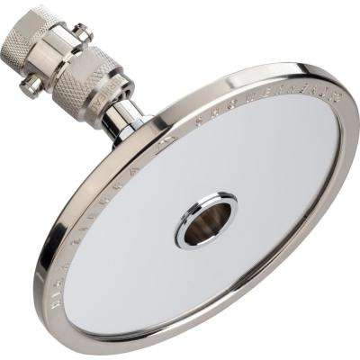 Reflections 1-Spray 5 in. 1.5 GPM Fixed Shower Head and Fogless Shaving Mirror In-One in Brushed Nickel
