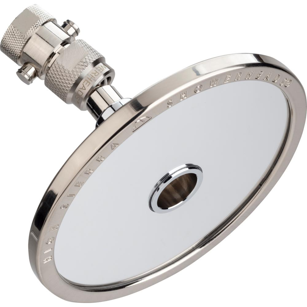High Sierra Showerheads Reflections 1-Spray 5 in. 1.8 GPM Fixed Shower Head and Fogless Shaving Mirror In-One in Brushed Nickel