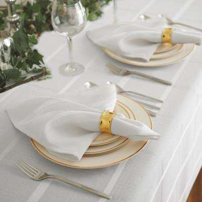 17 in. W x 17 in. L Elrene Elegance Plaid Damask White Fabric Napkins (Set of 4)