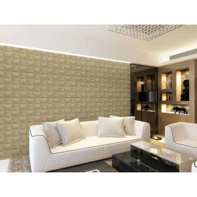 19.6 in. x 19.6 in. Self-Stick Basket Weave Pattern 3D Decorative Wall Tile in White (10-Pack)