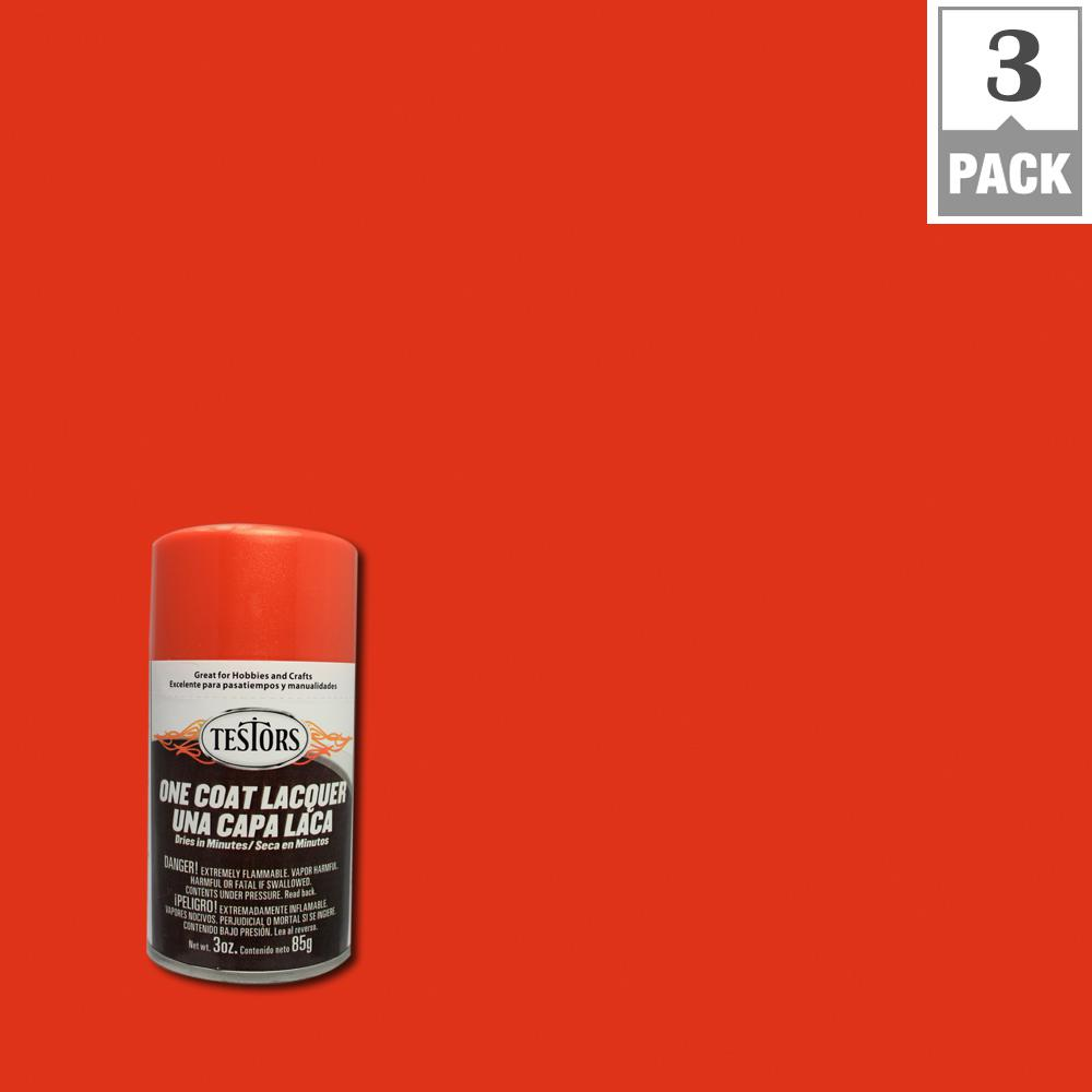 testors 3 oz flaming orange lacquer spray paint 3 pack 1840mt