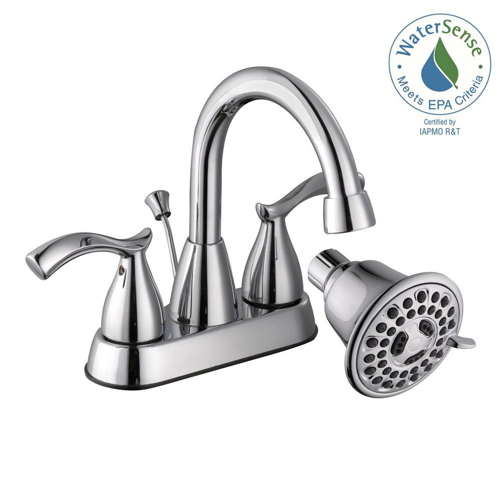 Glacier Bay Edgewood 4 in. Centerset 2-Handle Bathroom Faucet with 3-Spray Showerhead in Chrome