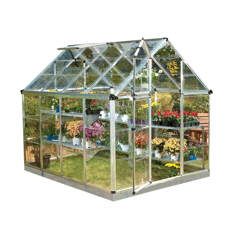 Snap and Grow 6 ft. x 8 ft. Silver Polycarbonate Greenhouse