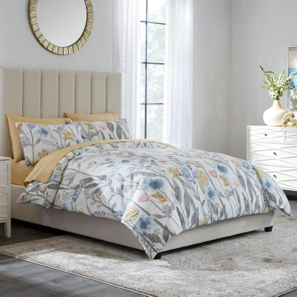 Home Decorators Collection Purcell 2-Piece Washed Denim Botanical Twin Duvet