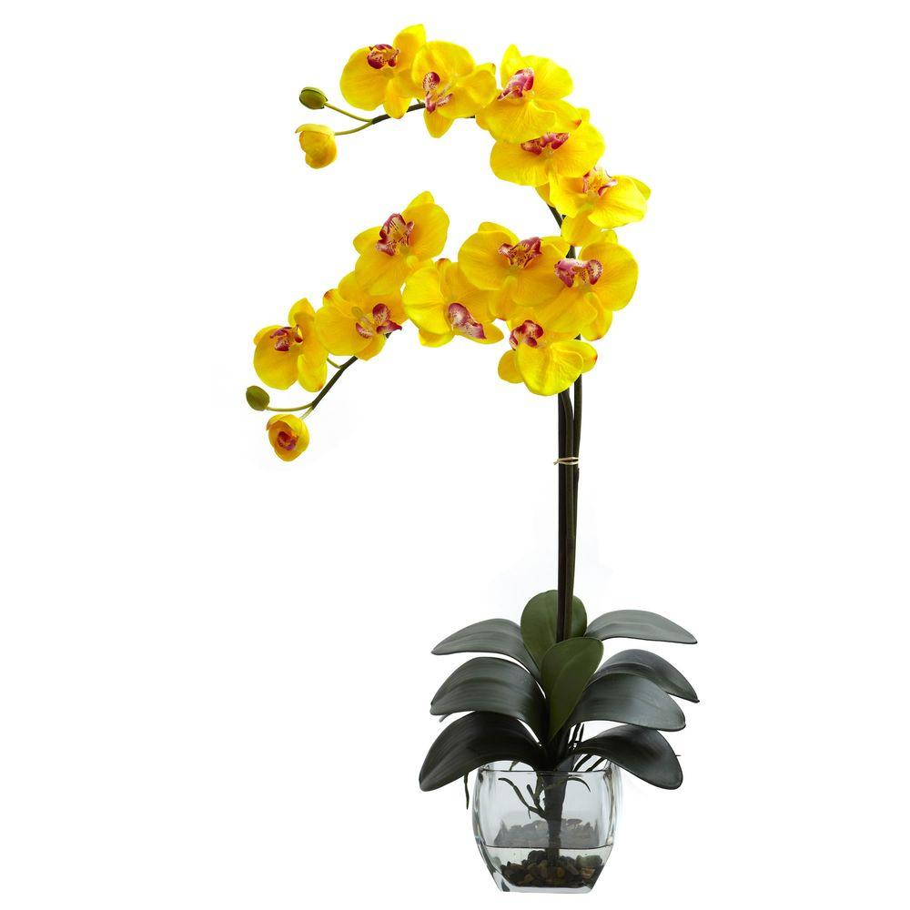 Artificial flowers artificial plants flowers the home depot double phalaenopsis orchid with vase arrangement in yellow reviewsmspy