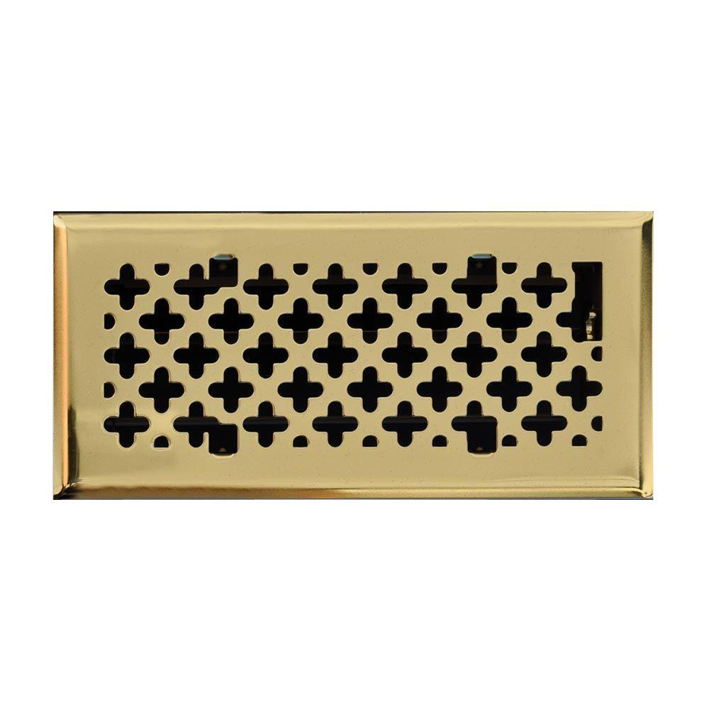 T.A. Industries 4 in. x 10 in. Retro Couture Floor Diffuser, Polished Brass