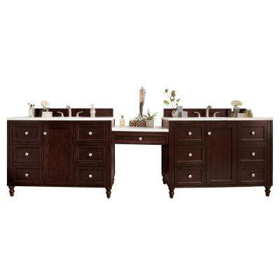 Copper Cove Encore 126 in. W Double Bath Vanity in Burnished Mahogany with Soild Vanity Top in Arctic with White Basin