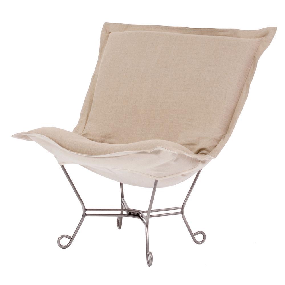Merveilleux Howard Elliott Collection Prairie Linen Beige Natural Scroll Puff Chair