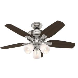 Hunter Channing 44 inch Indoor Brushed Nickel Ceiling Fan with Light Kit by Hunter