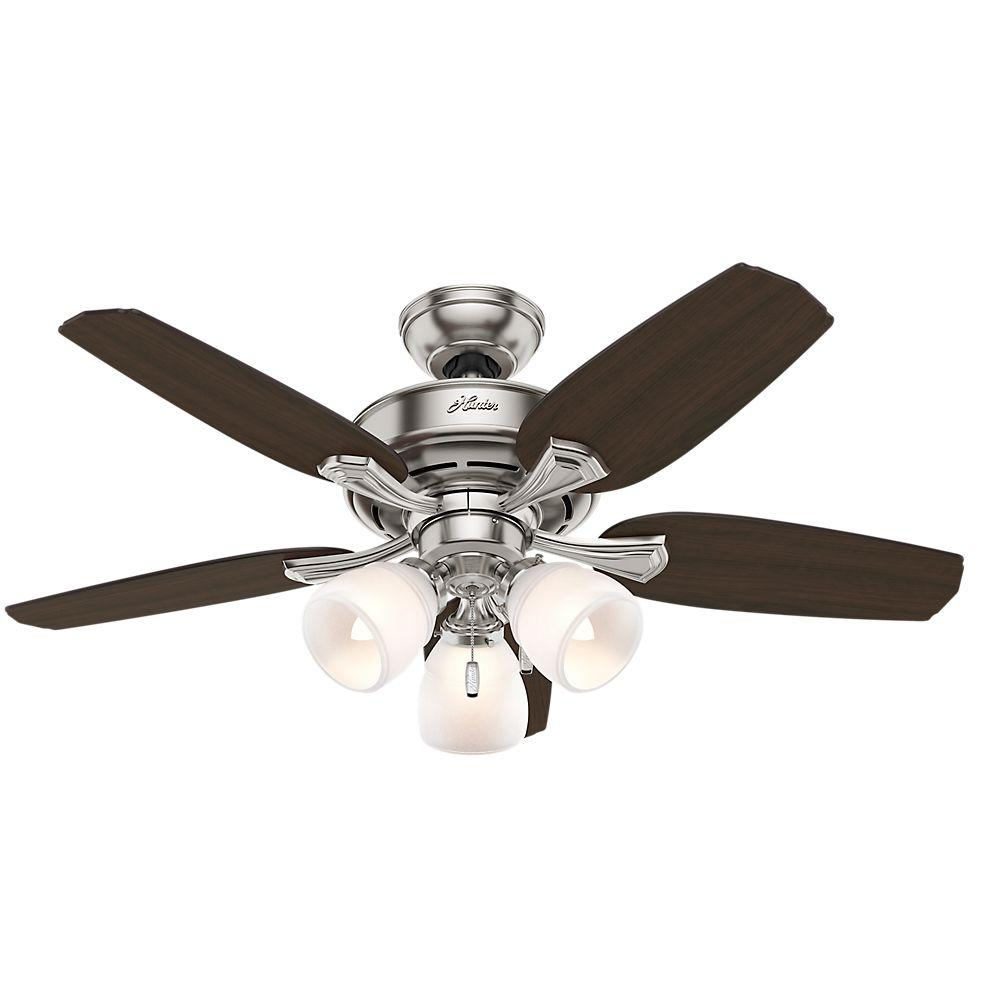 Hunter Channing 44 In Indoor Brushed Nickel Ceiling Fan With Light Kit 51095 The Home Depot