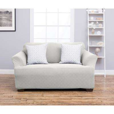 Cambria Collection Ivory Stretch Fit Form Fitting Heavyweight Loveseat Stretch Slipcover