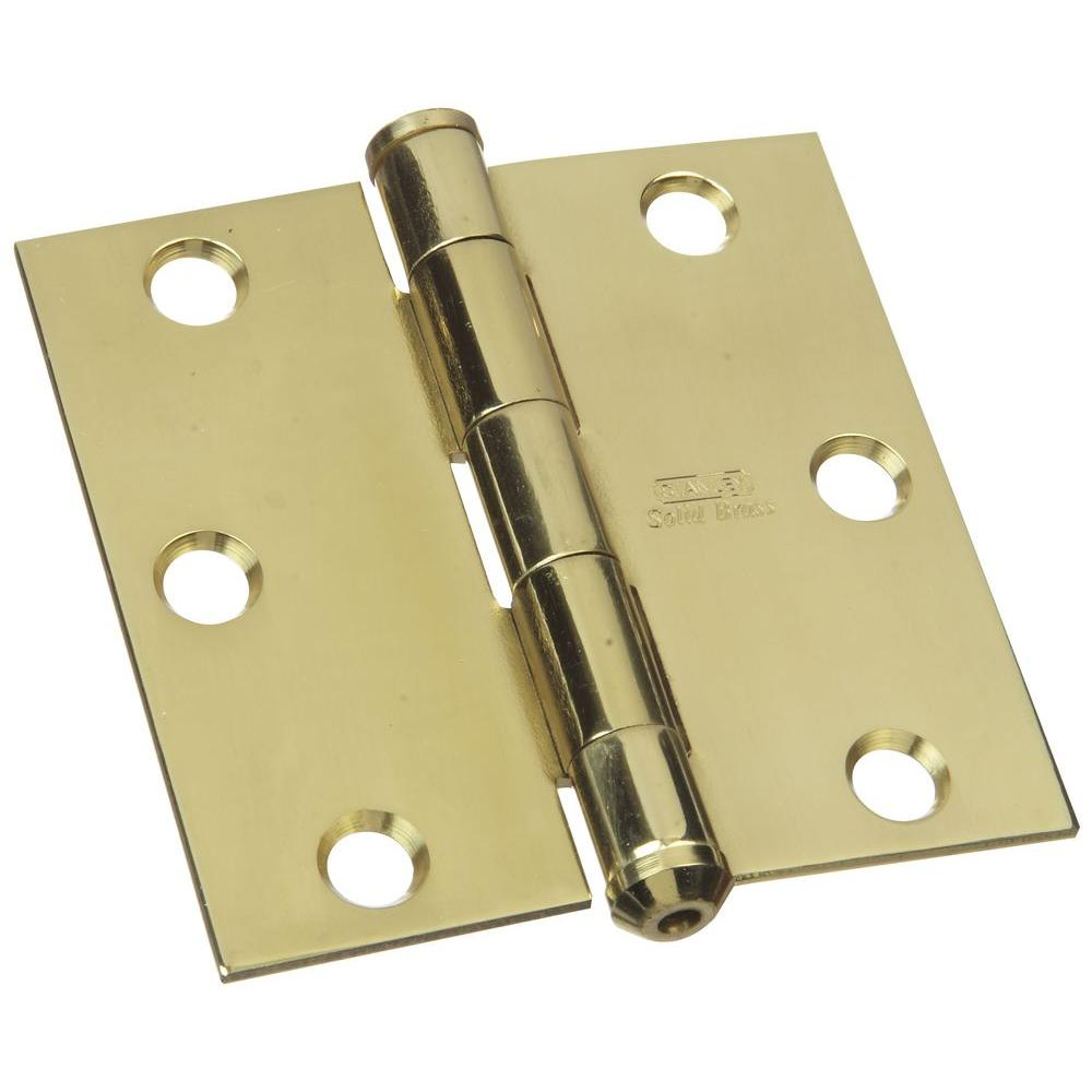 Stanley-National Hardware 3 in. x 3 in. Solid Brass Square Corner Residential Hinge