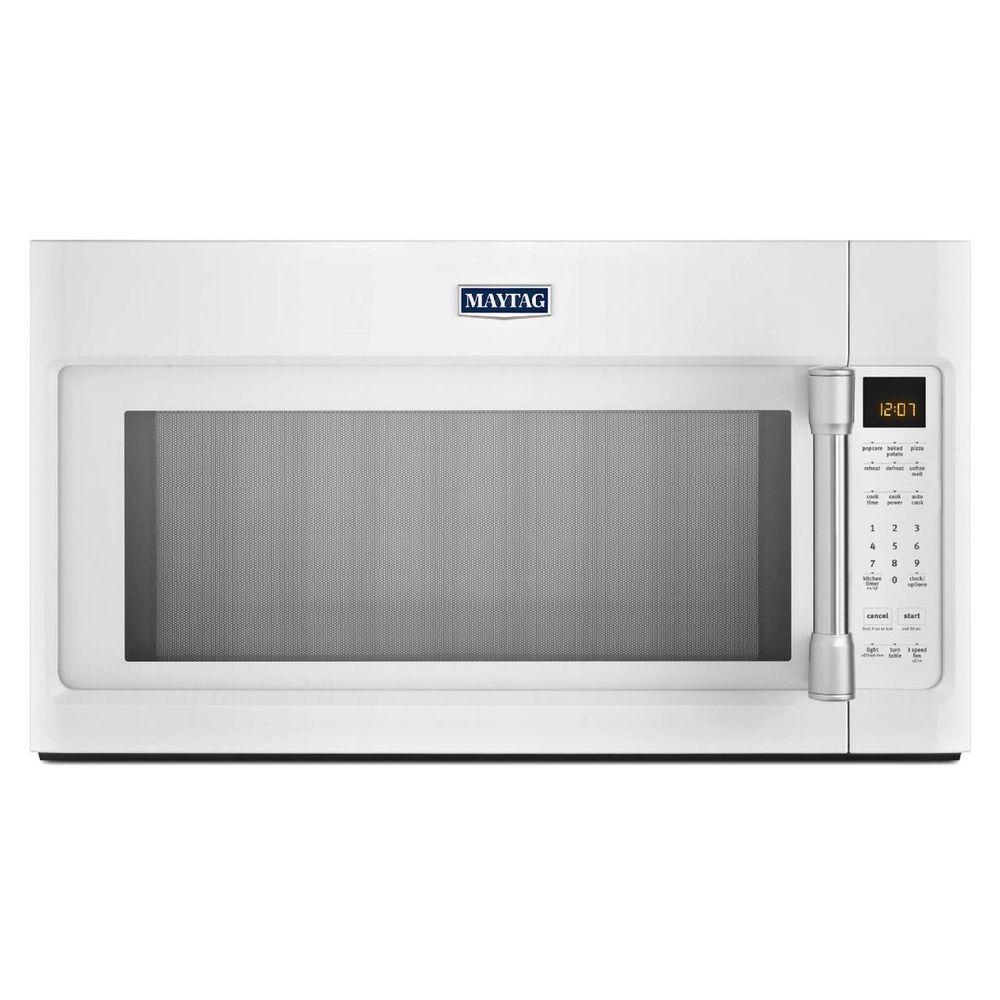 Maytag 2 0 Cu Ft Over The Range Microwave In Black With Stainless Steel Handle Sensor Cooking Mmv4205de Home Depot