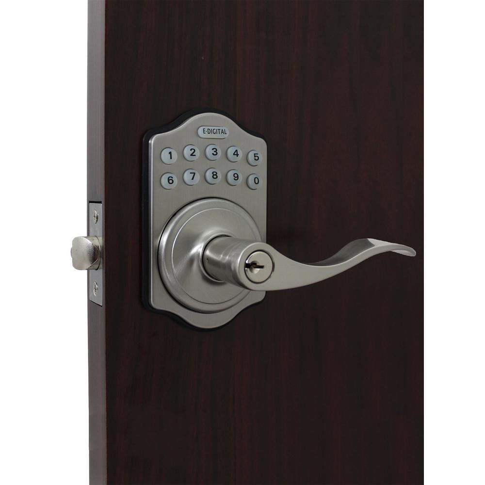 E Digital E-985 Satin Chrome Electronic Lever Lock Remote Capable