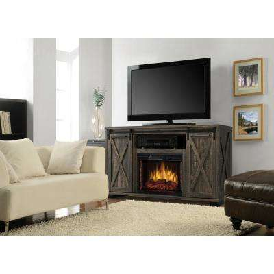 Rivington 58 in. Freestanding Infrared Electric Fireplace TV Stand with Sliding Barn Door in Barnboard Gray