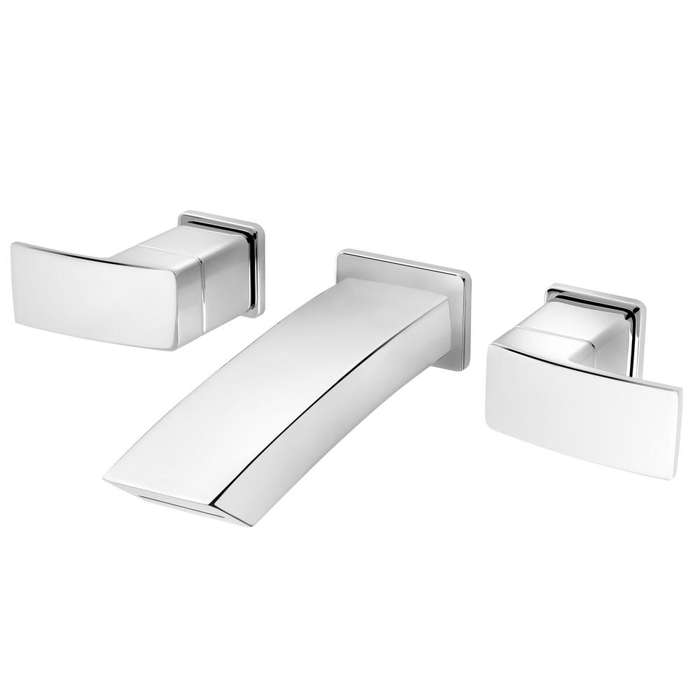 Kenzo 2-Handle Wall Mount Bathroom Faucet Trim Kit in Polished Chrome (Valve Not Included)