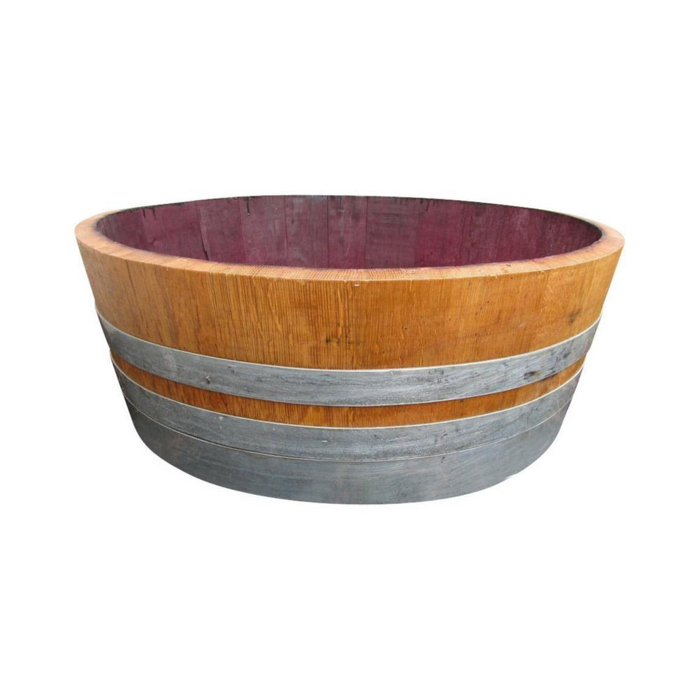 25 in. Dia x 9 in. H Natural Wood Wine Barrel