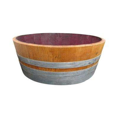 25 in. W 9 in. H Lacquer Finished Oak Wood Shallow Wine Barrel with Rebuild Cedar Wood Bottom