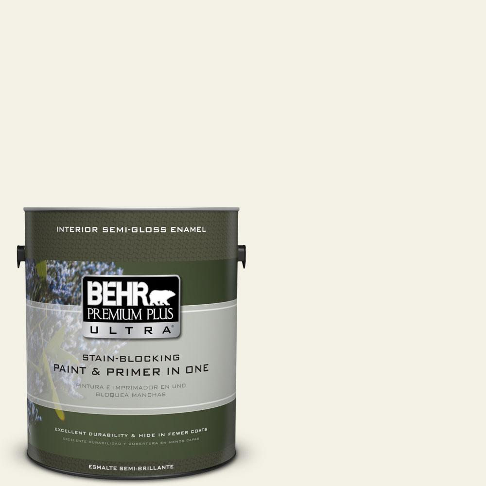 1-gal. #BXC-01 Resort White Semi-Gloss Enamel Interior Paint