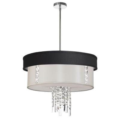 Rita 3-Light Polished Chrome Crystal Pendant with Black/Silver and White Shade